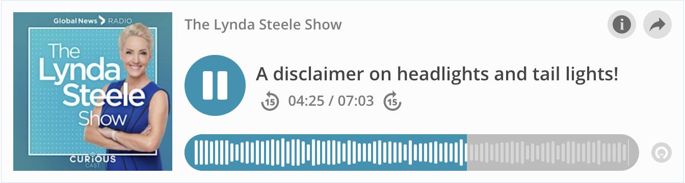 Grant Gottgetreu on the Lynda Steele Show: A disclaimer on headlights and tail lights!